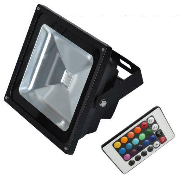 livraison gratuite projecteur exterieur noir rgb led 30w epistar avec t l commande spot led. Black Bedroom Furniture Sets. Home Design Ideas