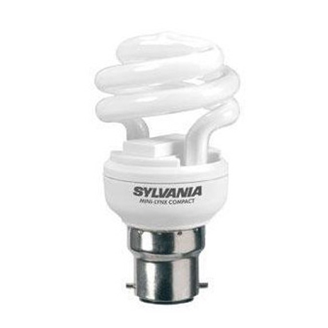 Ampoule Sylvania Mini-Lynx Fast start T2 spirale B22 12W 827 code 0035210