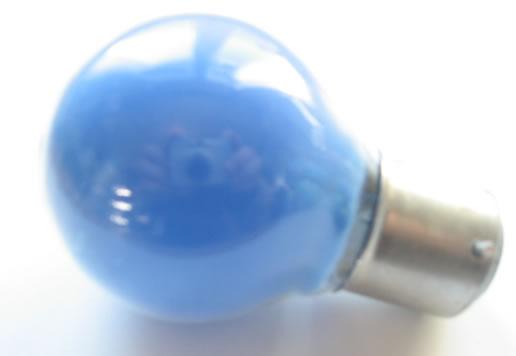 Ampoule sphérique B22 230V 15W bleu poudré