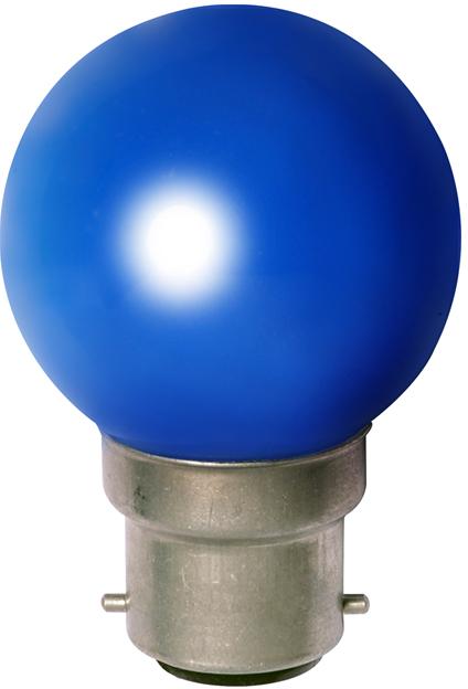 Ampoule sphérique B22 230V 15W bleu opale