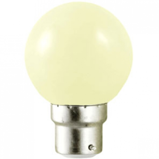 Ampoule sphérique B22 230V LED 1W BLANC CHAUD