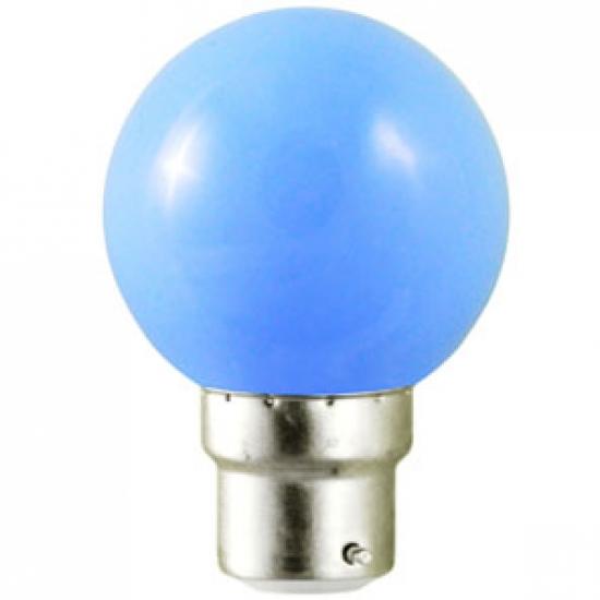 Ampoule sphérique B22 230V LED 0,8W BLEU