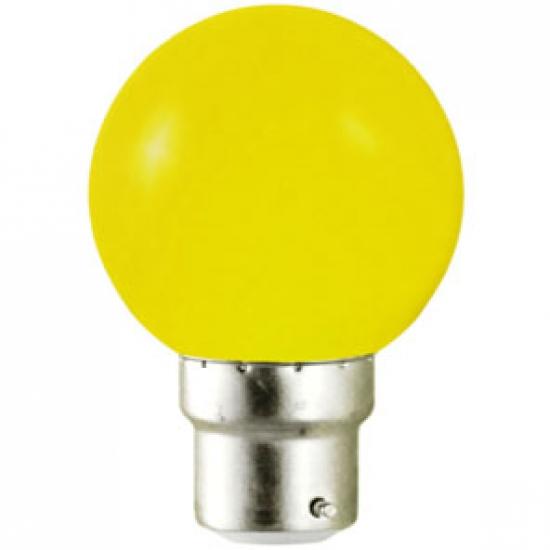 Ampoule sphérique B22 230V LED 0,8W JAUNE