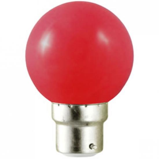 Ampoule sphérique B22 230V LED 0,8W ROUGE