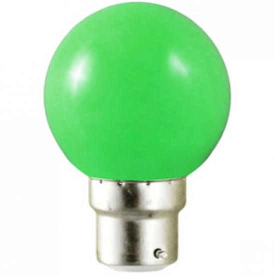 Ampoule sphérique B22 230V LED 0,8W VERTE