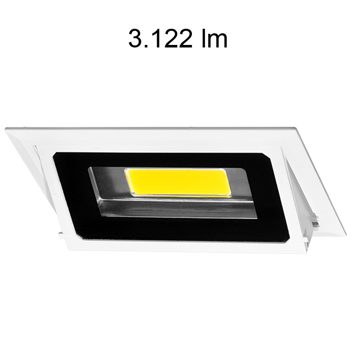 Downlight rectangulaire inclinable BONN 30W 4200K 3122 lumens chassis encastrable blanc