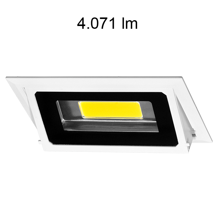 Downlight rectangulaire inclinable BONN 35W 4200K 4071 lumens chassis encastrable blanc