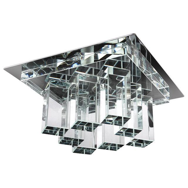 Plafonnier chrome transparent et vasque en verre