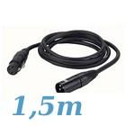 cable XLR 3 male vers XLR 3 Femelle 1,5 m