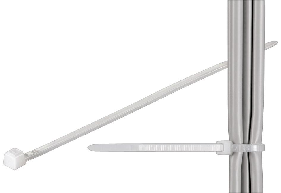 Lot de 100 Colliers de serrage 200mm X 4.8 blanc