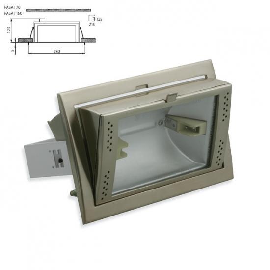 Downlight aluminium encastré inclinable pour iodure Rx7S 70W chrome mat