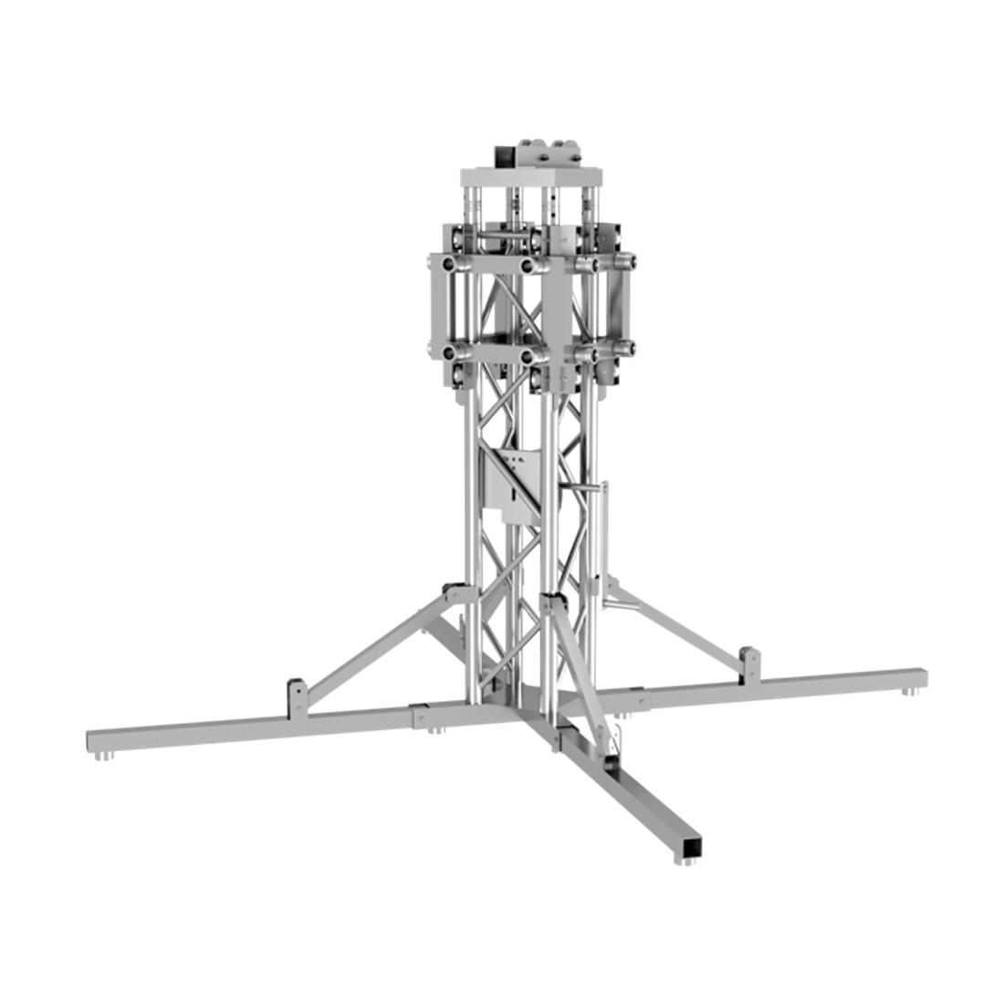 Elément de tower complet Duratruss DT34 FLEX TOWER avec embase chariot et système de treuil
