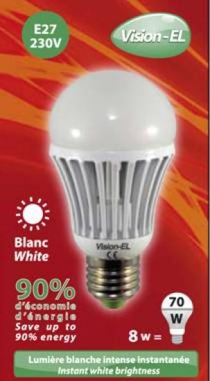 Ampoule à led Blanche E27 8W 230V Blanc Jour 6400