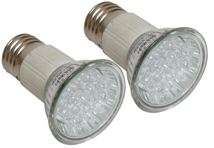 2 Lampes E27 à led Blanches 1 W 230V