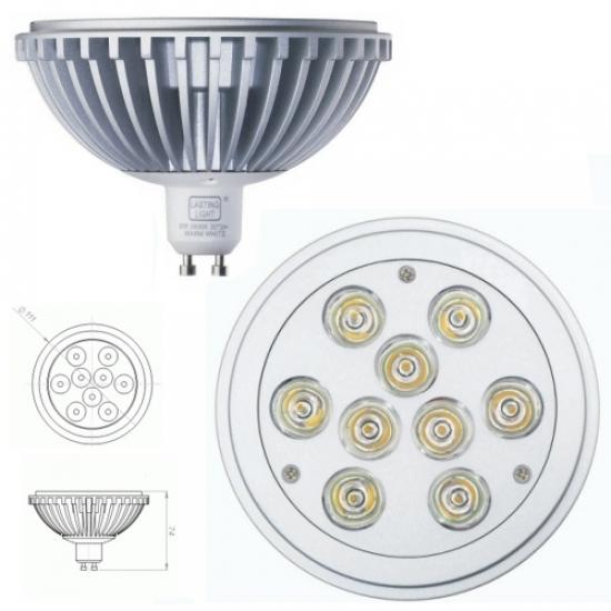 Lampe led Hi-spot  ES111 GU10 230V 9W Blanc chaud 2700K
