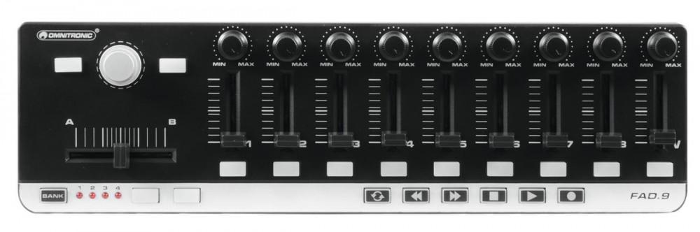 Controlleur midi Omnitronic FAD-9 universel 9 faders