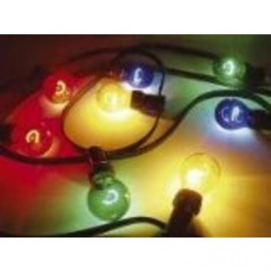 Guirlande guinguette pour fête  extérieur IP44 10 lampes de couleurs translucides 10m