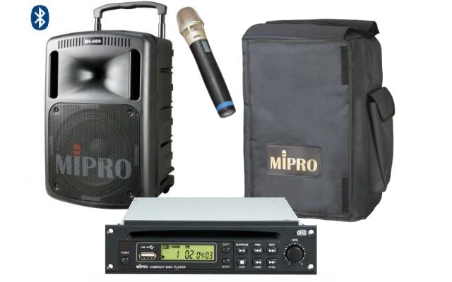 Enceinte autonome MIPRO MA708 BCD Pack 190W lecteur CD MP3 USB Bluetooth 1 Micro HF et housse