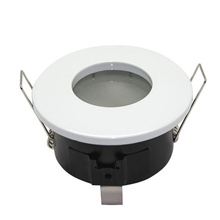 livraison gratuite plafonnier rond fixe tanche finition blanc pour dichroique halog ne ou led. Black Bedroom Furniture Sets. Home Design Ideas