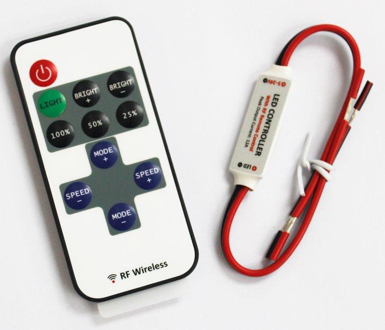 Contrôleur pour ruban led 3528 et 5050 unicolore avec télécommande RF faible encombrement