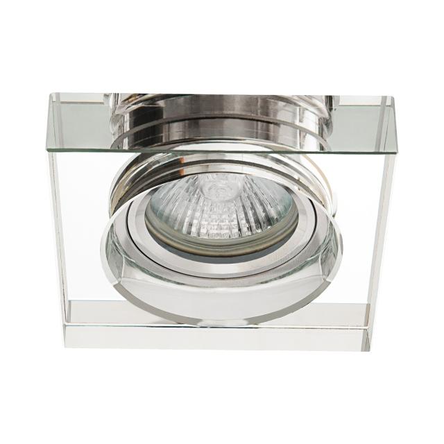 Plafonnier verre argent carré encastré spot fixe sans lampe