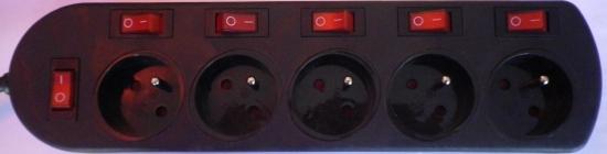 Multiprise noire 5 prises 16A 5 interrupteurs + 1 général cordon 2 mètres