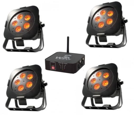 Pack sans fil American DJ 4 Projecteurs QA5 ADJ 5 X 5W RGBA Wifly et batterie et un Transmetteur