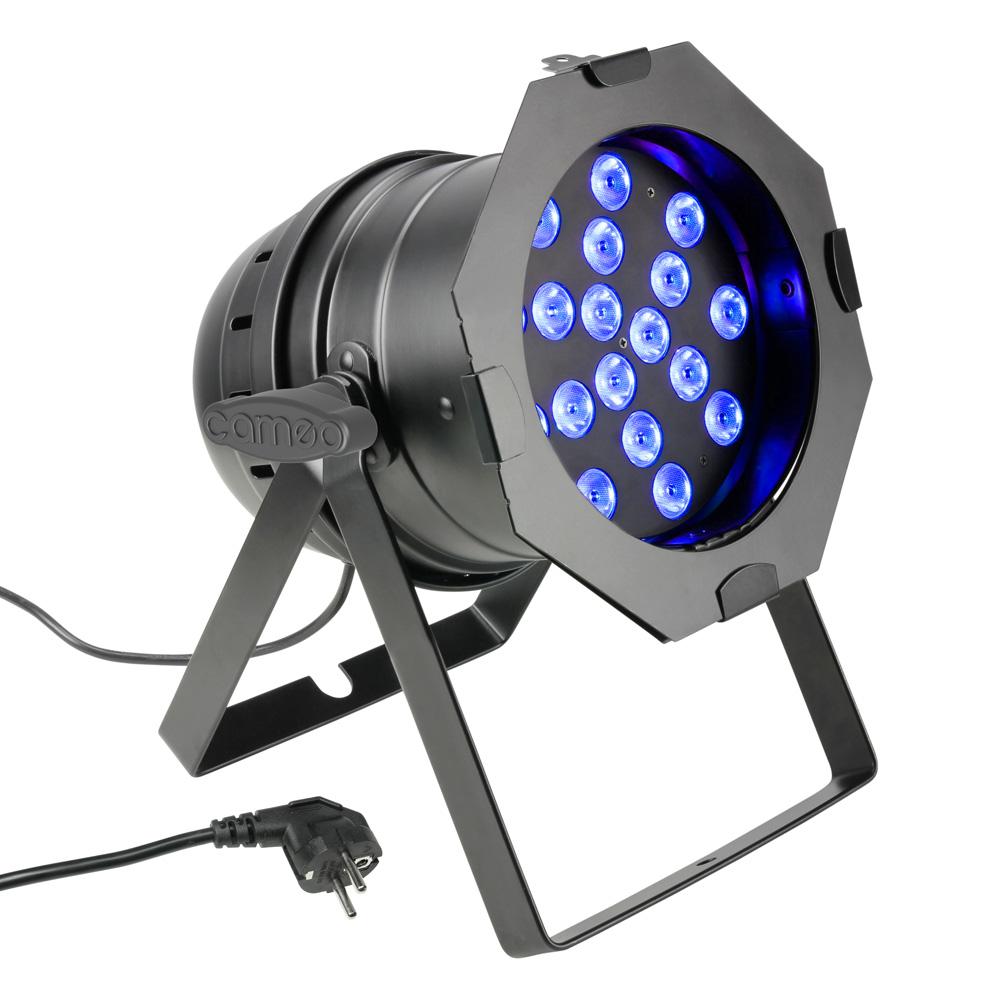 livraison gratuite projecteur par 64 led noir cameo 18x3w full color projecteur led pro prozic. Black Bedroom Furniture Sets. Home Design Ideas