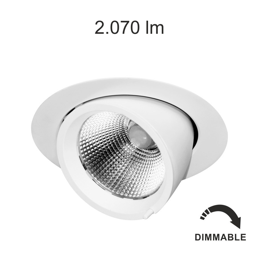 Downlight encastré orientable et inclinable Beneito et faure Pixel 30W blanc neutre dimmable