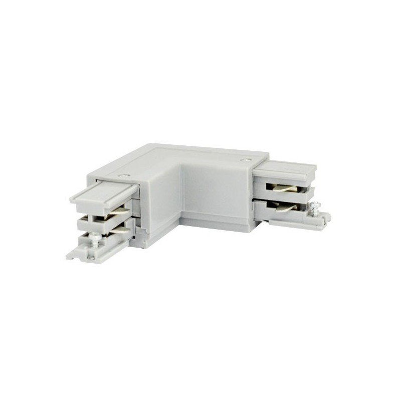 Connecteur de jonction à 90° intérieur droit blanc pour rail 3 phases