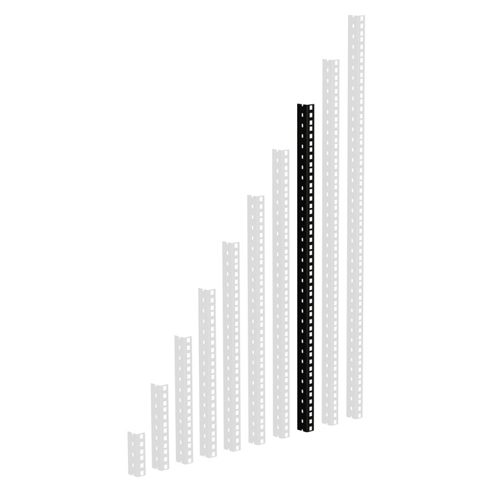 Profilé de rack noir 16U perçage 1/2 U