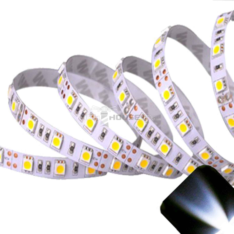 Ruban LED 12V Blanc Froid 60 LEDS 5050 900 lumens par metre Rouleau de 5m non waterproof