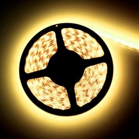 Ruban LED 12V Blanc Chaud 3300K 60LEDS/M 5050 900 lumens par metre IP65 Rouleau de 5m