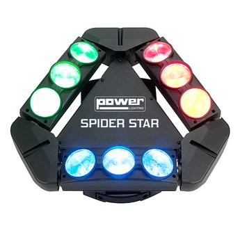 Multi Beam Power Lighting SPIDER STAR rotation Continue 9x12W LEDs Cree RGBW