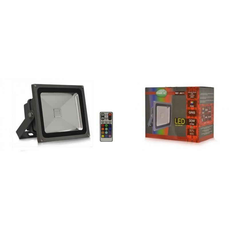 livraison gratuite projecteur exterieur gris rgb led 30w avec t l commande prozic. Black Bedroom Furniture Sets. Home Design Ideas