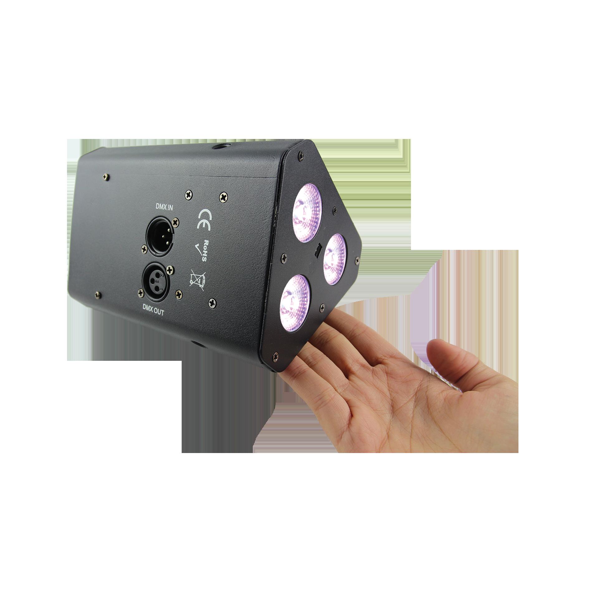 livraison gratuite projecteur led sur batterie power lighting triangulaire 3x5w rgbw led sur. Black Bedroom Furniture Sets. Home Design Ideas