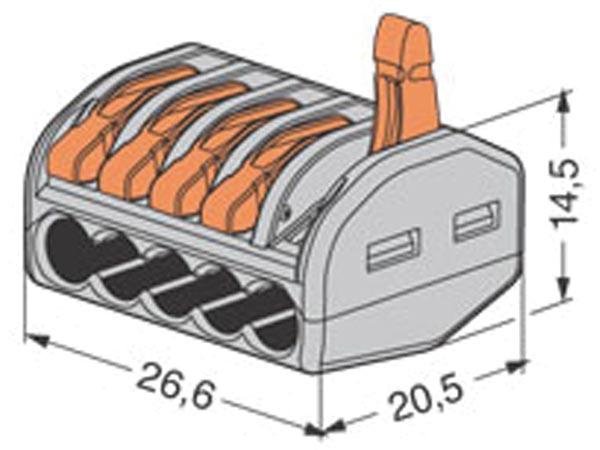 Borne de connexion WAGO 5 X 0.08 à 4mm cond souple ou rigide