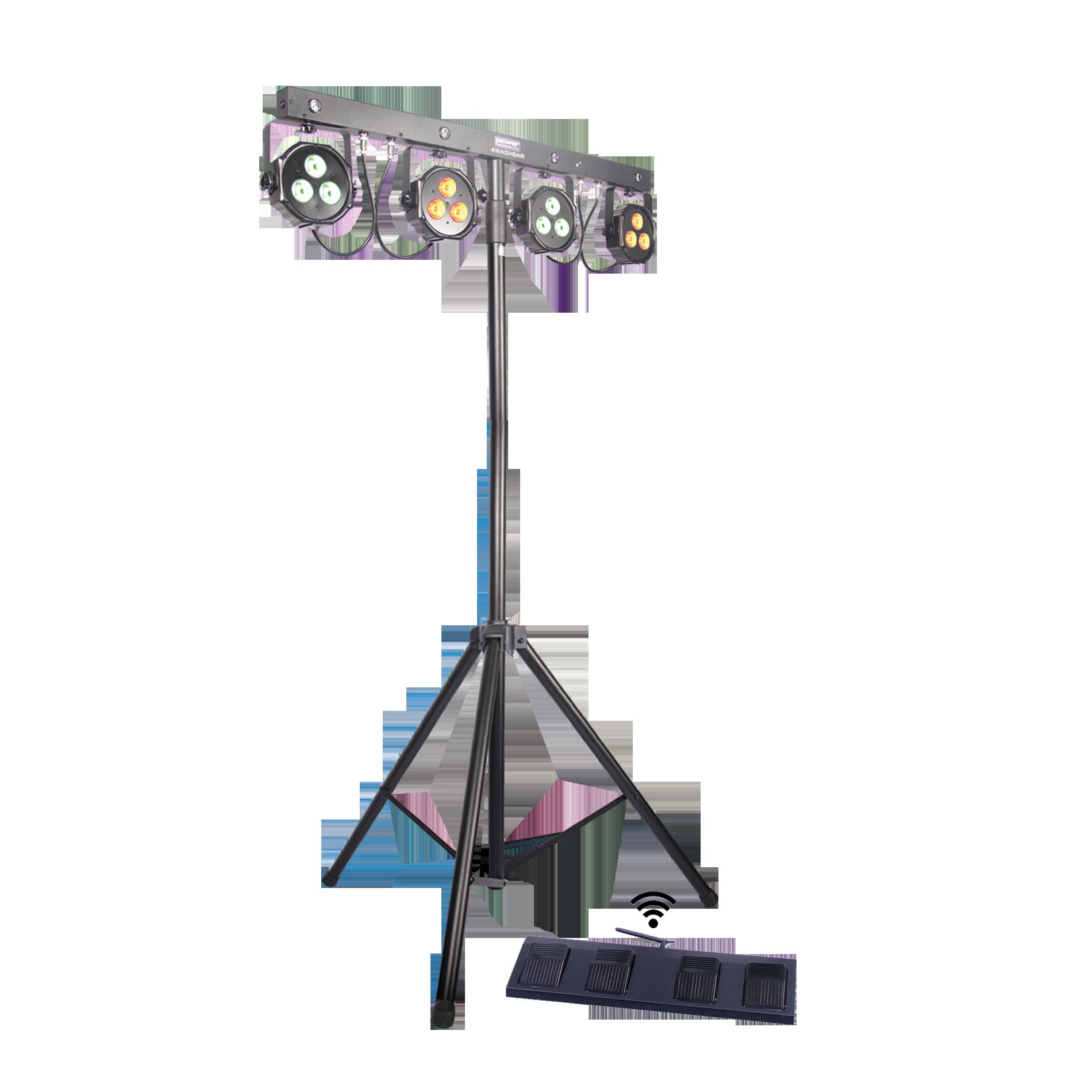 livraison gratuite pack de 4 projecteurs leds power lighting sur pied avec p dalier t l commande. Black Bedroom Furniture Sets. Home Design Ideas