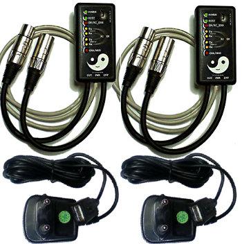 Kit complet 2 boitiers DMX sans fil wireless WIFI 2,4G 1,5km émetteur et récepteur