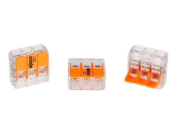 livraison gratuite connecteur wago s rie 221 levier 3x 0. Black Bedroom Furniture Sets. Home Design Ideas