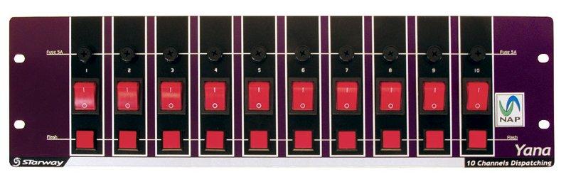 Dispatch avec prises 10 inter + 10 fusibles + 10 boutons flash