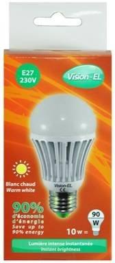 Ampoule à led Blanche E27 10W 230V Blanc Chaud 3100K