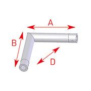 Structure Tube ASD - 57EX5022 / Angle 2 départs horizontal 90° - longueur 0,25 x 0,25 m