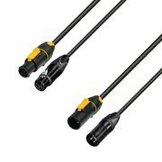 Adam Hall Cables 8101 PSDP 0300 N - Câble réseau & DMX entrée PowerConTrue & XLR femelle vers sortie PowerCon & XLR mâle 3m