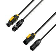 Adam Hall Cables 8101 PSDP 0500 N - Câble réseau & DMX entrée PowerConTrue & XLR femelle pour sortie PowerCon & XLR mâle 5m