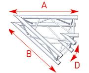 structure carrée ASD ASZ 20 M angle 2 départs 45° 290mm