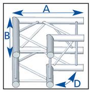 structure carrée ASD ASZ 22 FC angle 2 départs 90° 290mm Forte charge