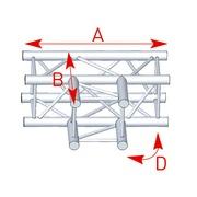 structure T 3 départs à plat structure carrée ASD ASZ 33 FC 290mm Forte charge