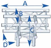 structure carrée ASD ASZ 42FC 4 départs 90° 290mm Forte charge