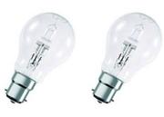 Lot de 2 Lampes B22 230V 28W Standard halogène équivalent 40W